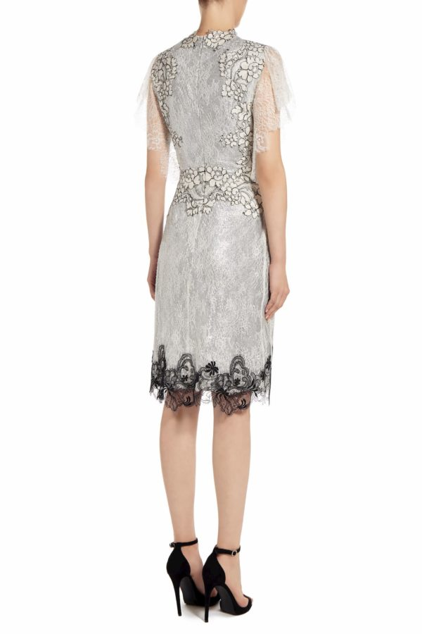 Nicca silver sequin knee-length dress with Chantilly lace PS 2022