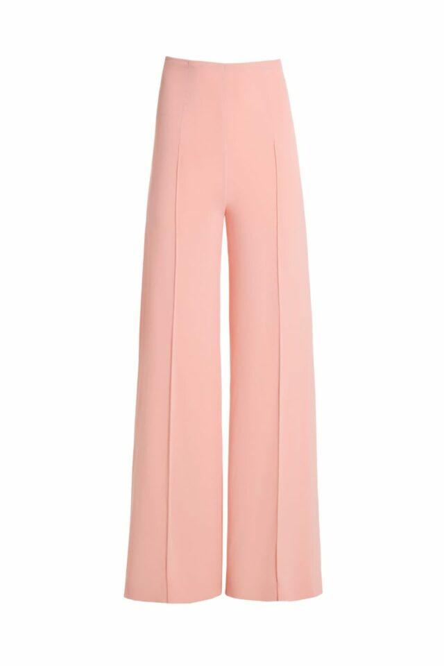 Nicolie pink crepe high-waisted palazzo pants PS 2043