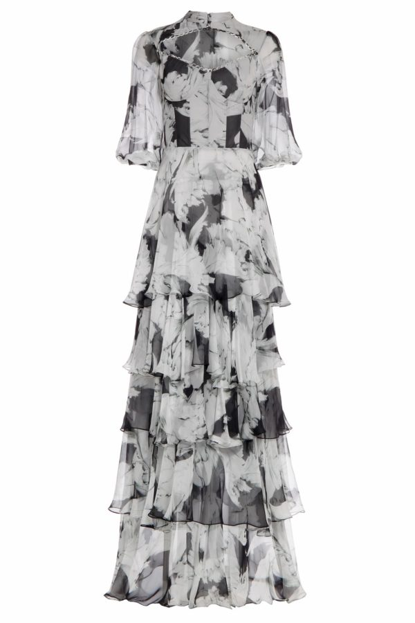 Niphanie black and white floral printed chiffon bustier dress PS 2009