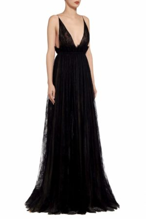 Pari black gossamer lace and tulle empire-waist dress PS 2095