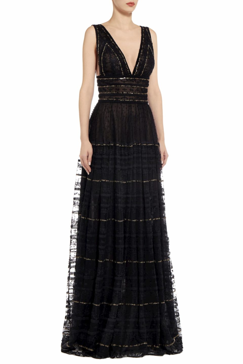 Patriciana black embroidered tulle empire-waist dress PS 2090