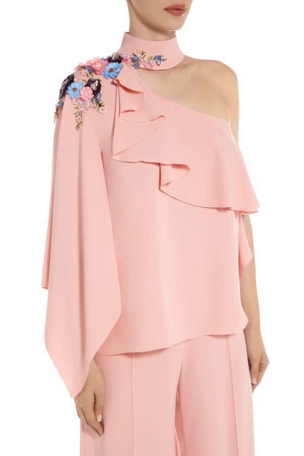 Rellie pink one-shoulder ruffle crepe blouse with collar and metallic paillete flowers PS 2044