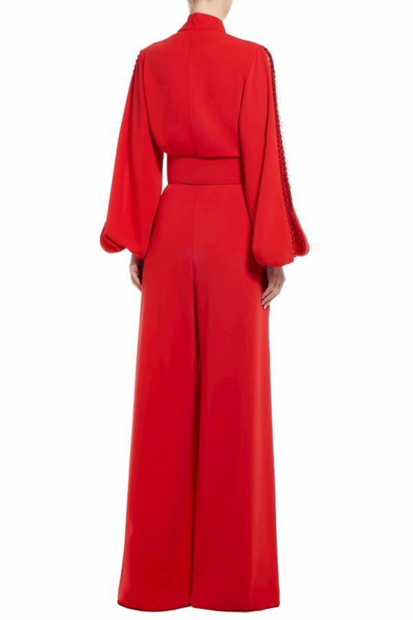 Ristina red crepe slit sleeve jumpsuit with peekaboo neckline PS 2045