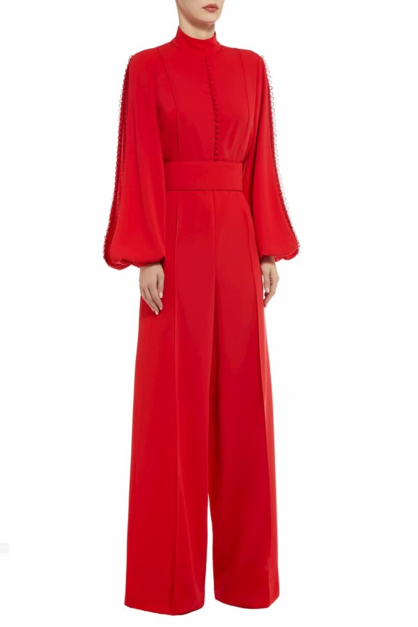 Ristina red crepe slit sleeve jumpsuit with peekaboo neckline PS 2045