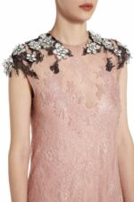 Rochelle pink sequin dress with Chantilly lace and flower appliques PS 2023