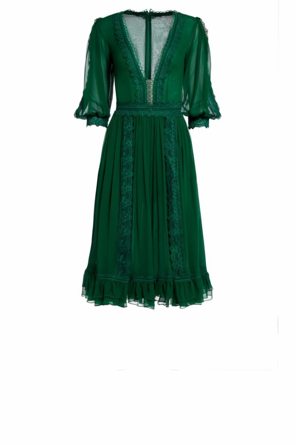 Sacie green silk chiffon cocktail dress with ruffle hem PS 2056