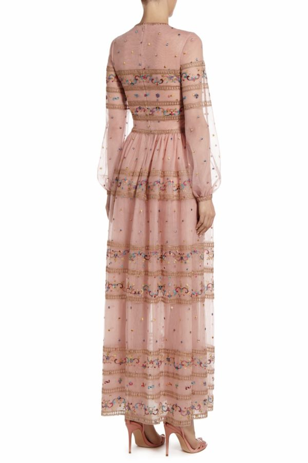 Sandrea rose pink embroidered tulle long sleeve dress PS 2081