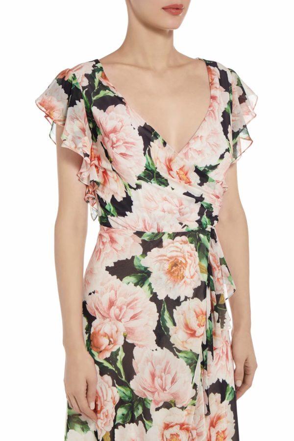 Selisa floral printed chiffon surplice wrap dress PS 2036