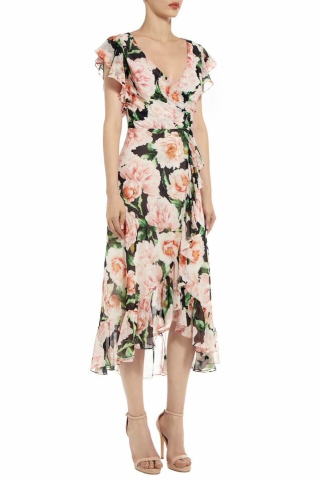 Selisa floral printed chiffon surplice wrap dress PS 2036