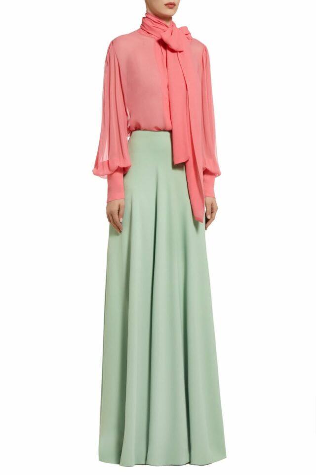 Shanine pink silk chiffon pussybow blouse PS 2067