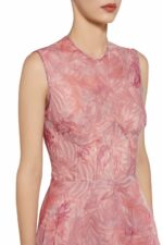 Tamacie Pink sleeveless bustier botanical leaf printed organza dress PS 2072
