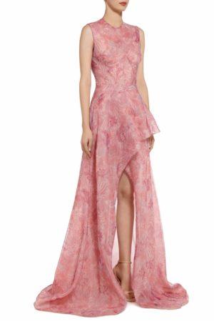 Tamacie Pink sleeveless bustier botanical leaf printed organza dress PS 2072