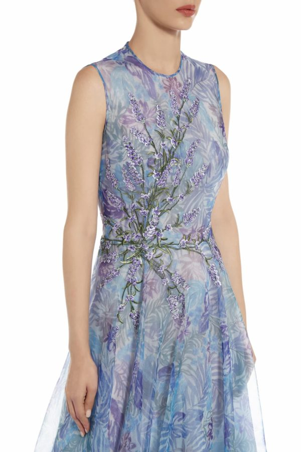 Tamistine blue botanical leaf printed organza dress with sequin flowers PS 2071