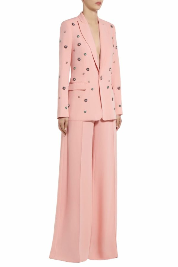 Tarrie pink crepe crystal embellished blazer PS 2048