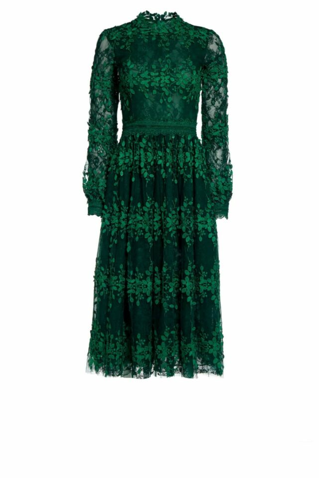 Tasa green embroidered tulle cocktail dress PS 2098
