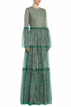 Ticia green tulle dress with pink embroidery and fluted sleeves PS 2085
