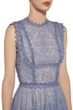 Tinthia blue sleeveless embroidered tulle dress with lace trim PS 2086