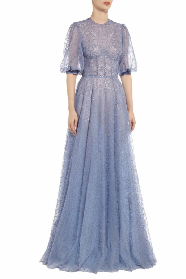 Torie blue embroidered tule bustier dress with blouson sleeves PS 2087