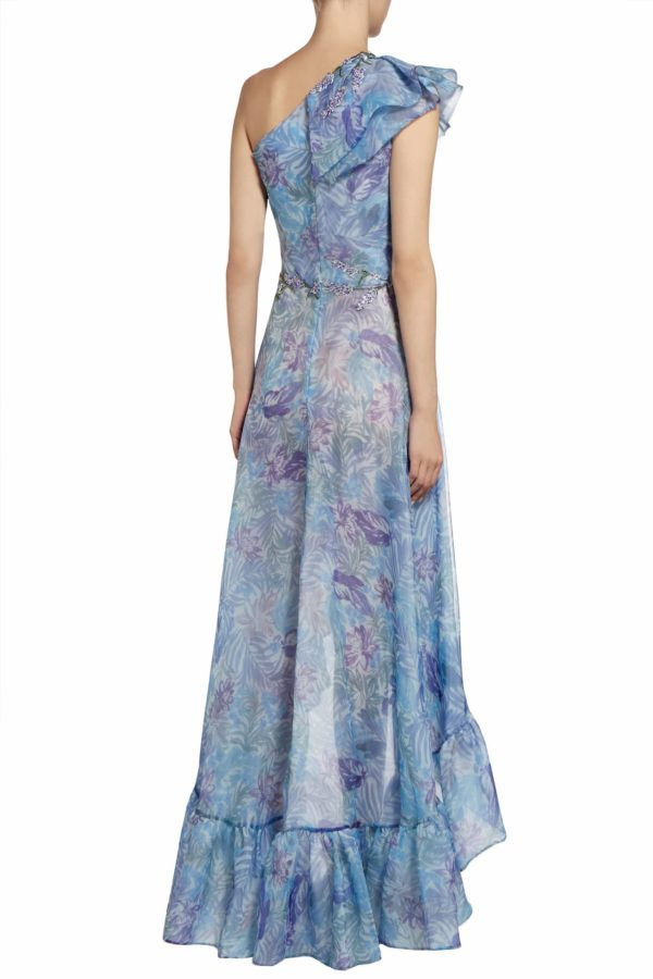 Trine blue floune one-shoulder neckline printed organza dress with hi lo hem PS 2073