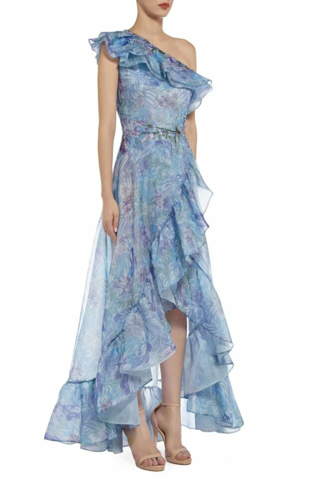Trine blue floune one-shoulder neckline printed organza dress with hi lo hem PS 2073