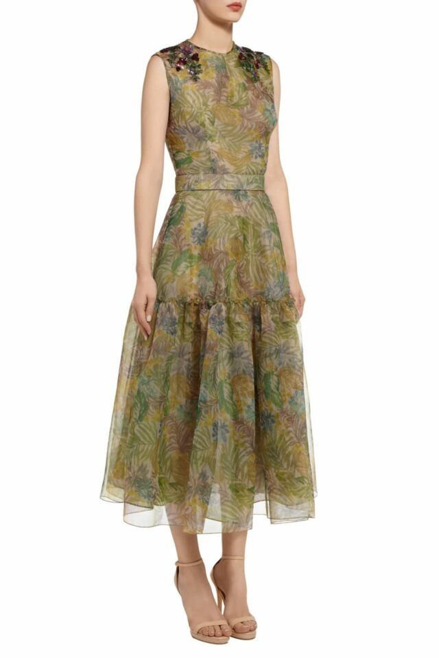Tristine green botanical leaf printed dropped waist dress with paillette flowers PS 2074
