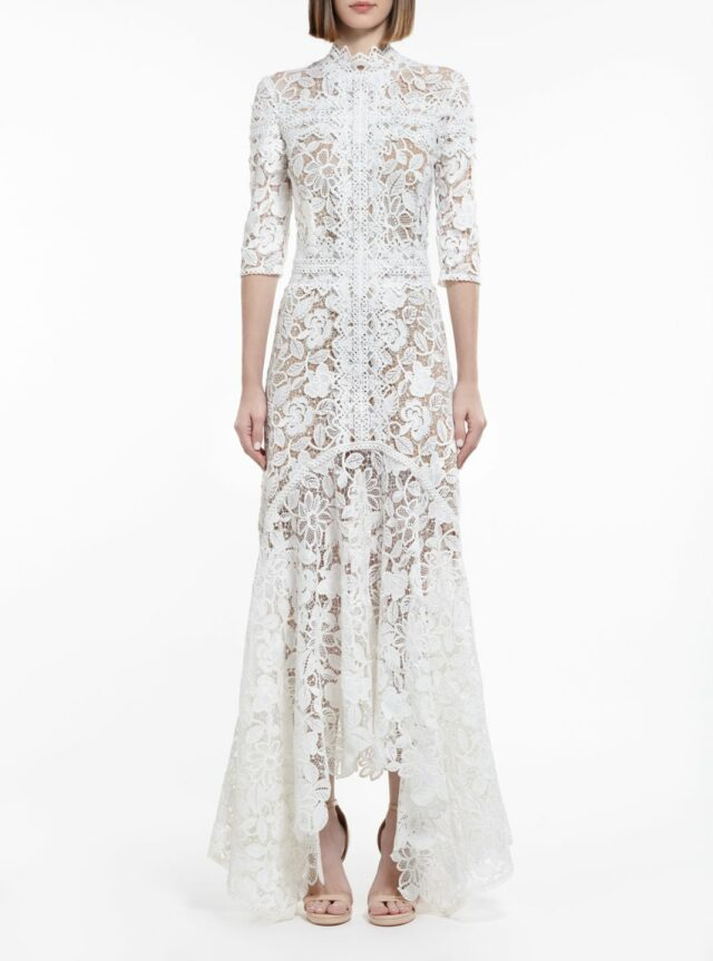 SS2067 Kalissa white guipure lacehandkerchief dress with nock-neck and three-quarter sleeves