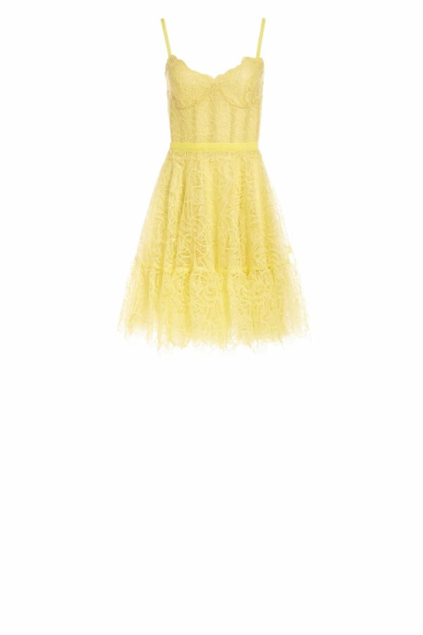 SS2075 Lellie yellow Gossamer lace mini dress with bustier bodice