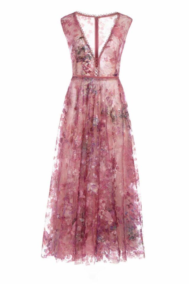 SS2051 Harra magenta sequin tulle plunging neckline dress