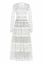 SS2033 Tarra flocked polka dot french tull a-line dress with guipure lace trim
