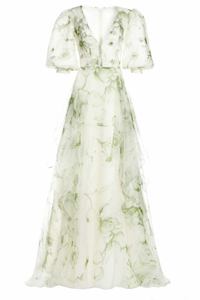 SS2070 Stalissa white silk oranza gown with green-floral print and plunging neckline