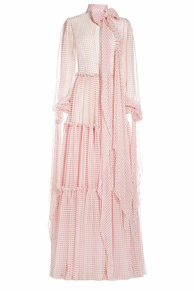 SS2031 Tisandra polka dot silk chiffon pussybow dress with extended cuff ties