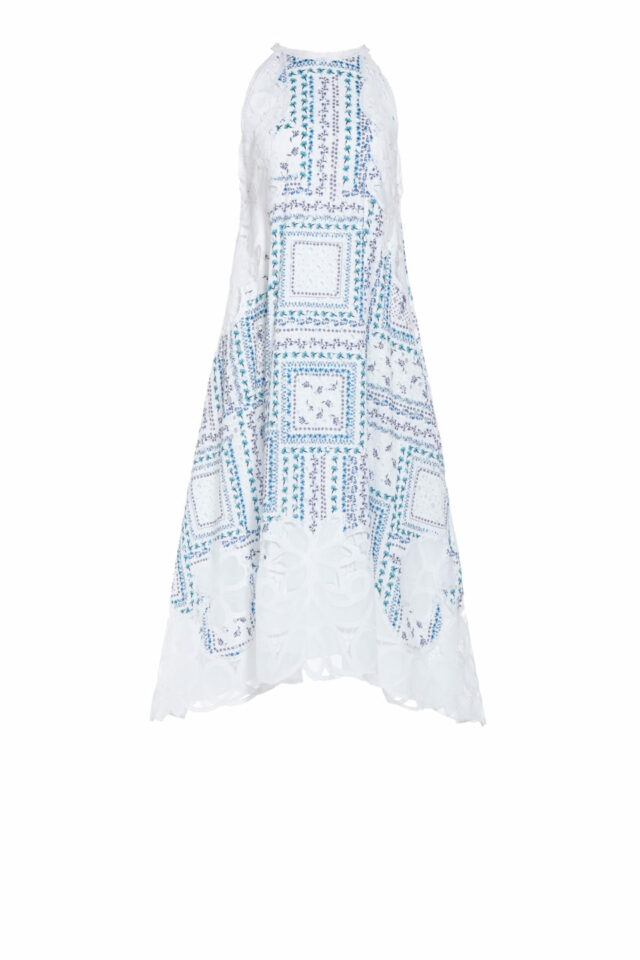SS2035 Sanra white cotton broderie anglaise dress with printed flowers