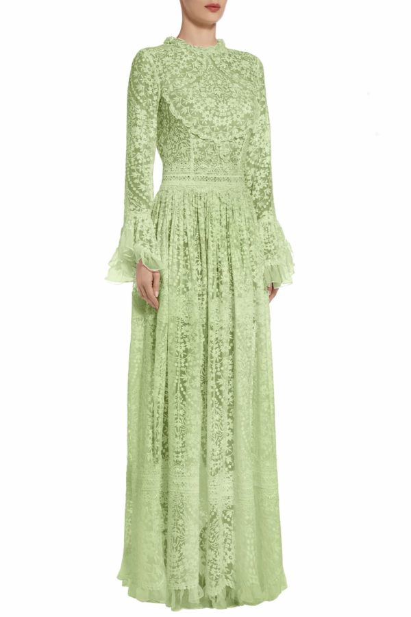 PS2004 mikolina green embroidered silk chiffon dress