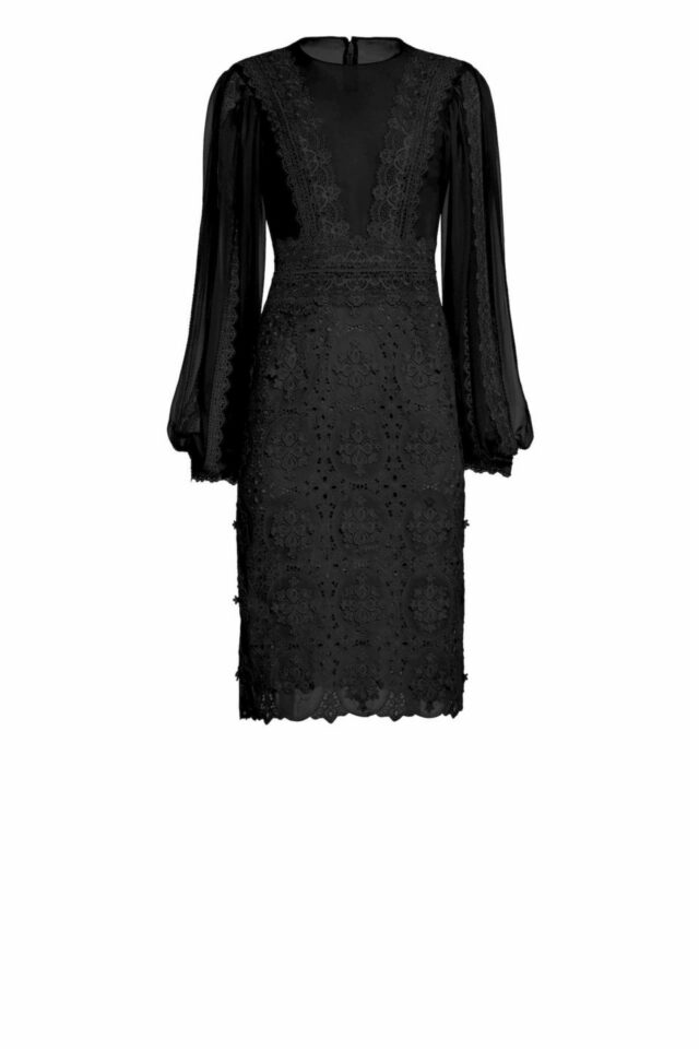 PS2011 Jensa dress silk chiffon with guipure lace trim