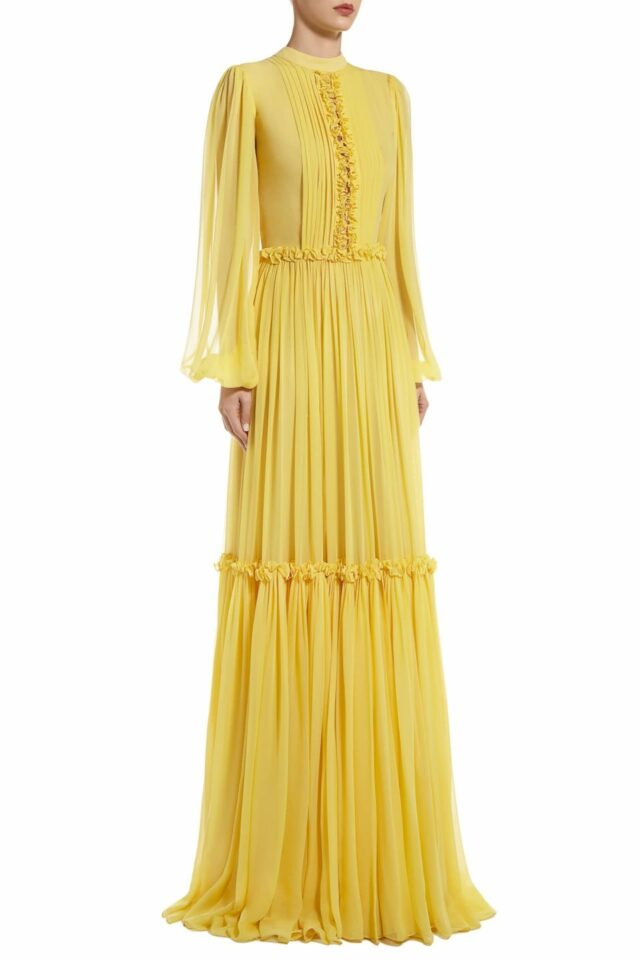 SS2010 Loricia yellow silk chiffon pussybow gown with tiered skirt