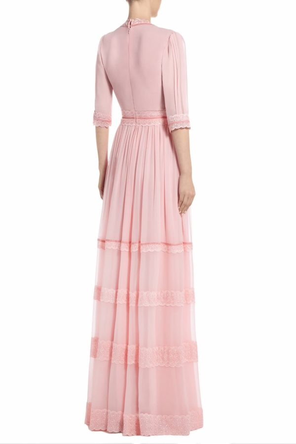 SS2013 Rakaria pink silk chiffon gown with plunging neckline and velvet and embroidered trims