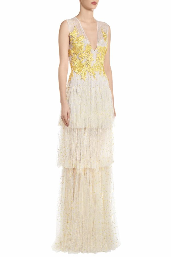 SS2098 Jeslee embroidered white french tulle tiered dress with yellow appliques