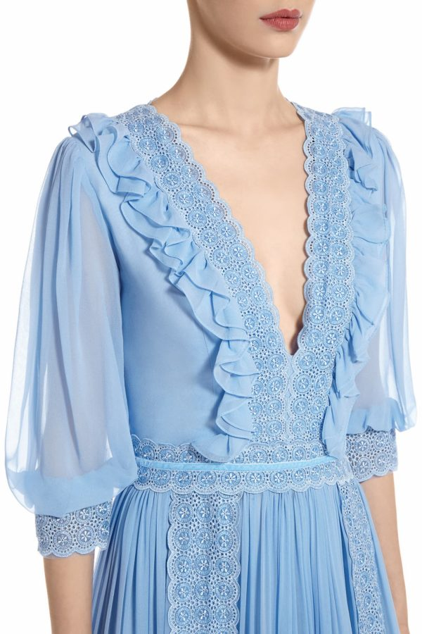 SS2011 Lynthia blue sillk chiffon tiered gown with ruffle detail