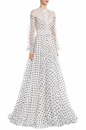 SS2034 Tiffana flocked polka dot tulle gown with embroidered lace and illusion neckline