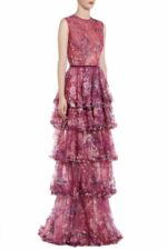SS2050 Eriette magenta sequin french tulle tiered gown with ruffle detail