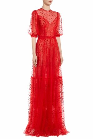 SS2057 Redrea red flocked polka dot tulle gown with chantilly lace and puff sleeves