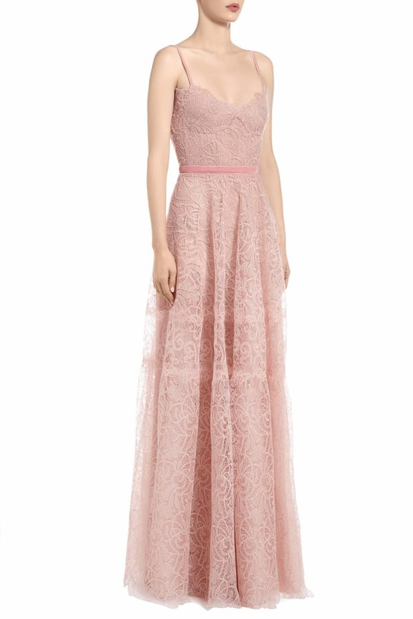 SS2076 Mally pink gossamer lace bustier gown