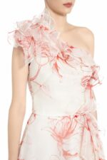 SS2073 Lonica white silk organza gown with red floral print and ruffle detail