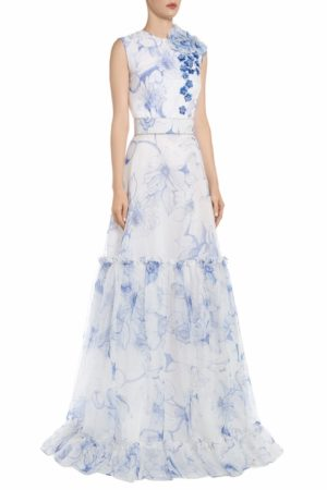 SS2072 Pacey white silk organza gown with blue floral print and tiered skirt