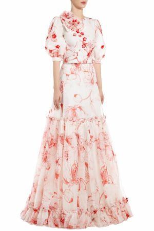SS2071 Melana white silk organza gown with red floral print and balloon sleeves