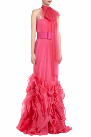 SS2094 Dawnie silk tulle pussybow gown with silk organza rosette pink