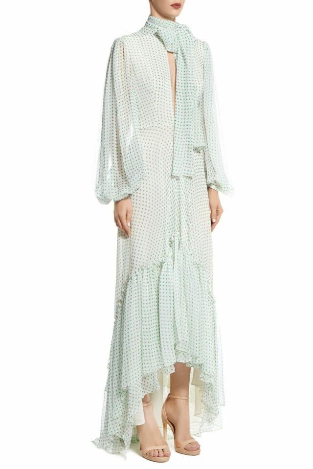 SS2032 Lorina green polka dot silk chiffon fishtail dress with keyhole neckline