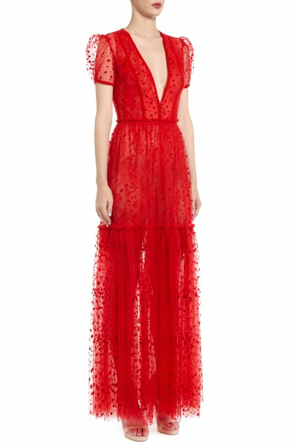 SS2056 Tona red flocked polka dot tulle tiered dress with plunging neckline