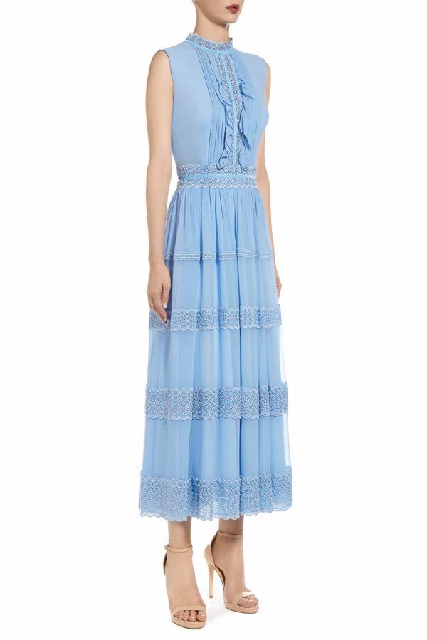 SS2012 Rachelle blue silk chiffon sleeveless dress with embroidered trims