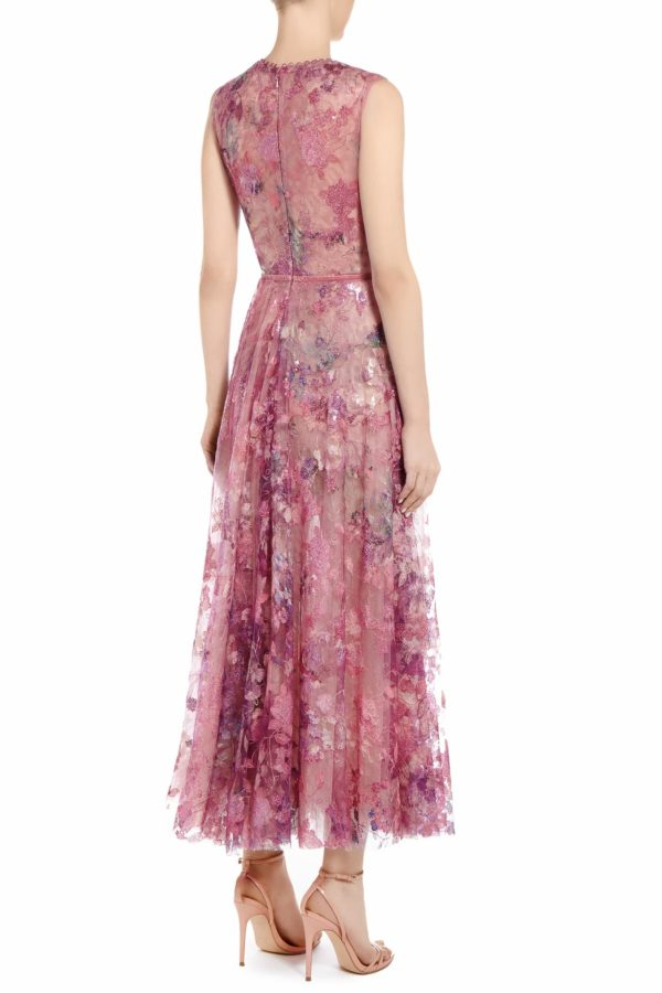 SS2051 Harra magenta sequin tulle plunging neckline dress